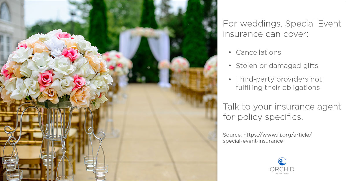 Special Events coverage for weddings